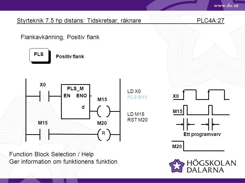Styrteknik 7.5 hp distans: Tidskretsar, räknare PLC4A:27