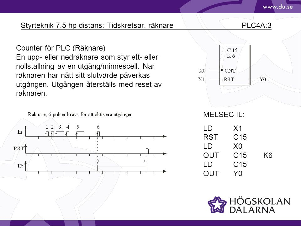 Styrteknik 7.5 hp distans: Tidskretsar, räknare PLC4A:3