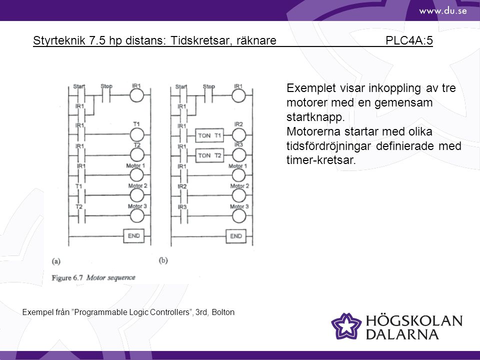 Styrteknik 7.5 hp distans: Tidskretsar, räknare PLC4A:5