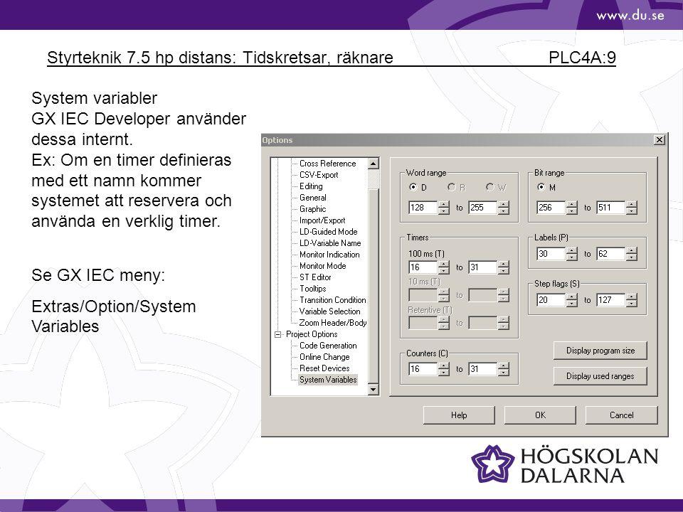 Styrteknik 7.5 hp distans: Tidskretsar, räknare PLC4A:9