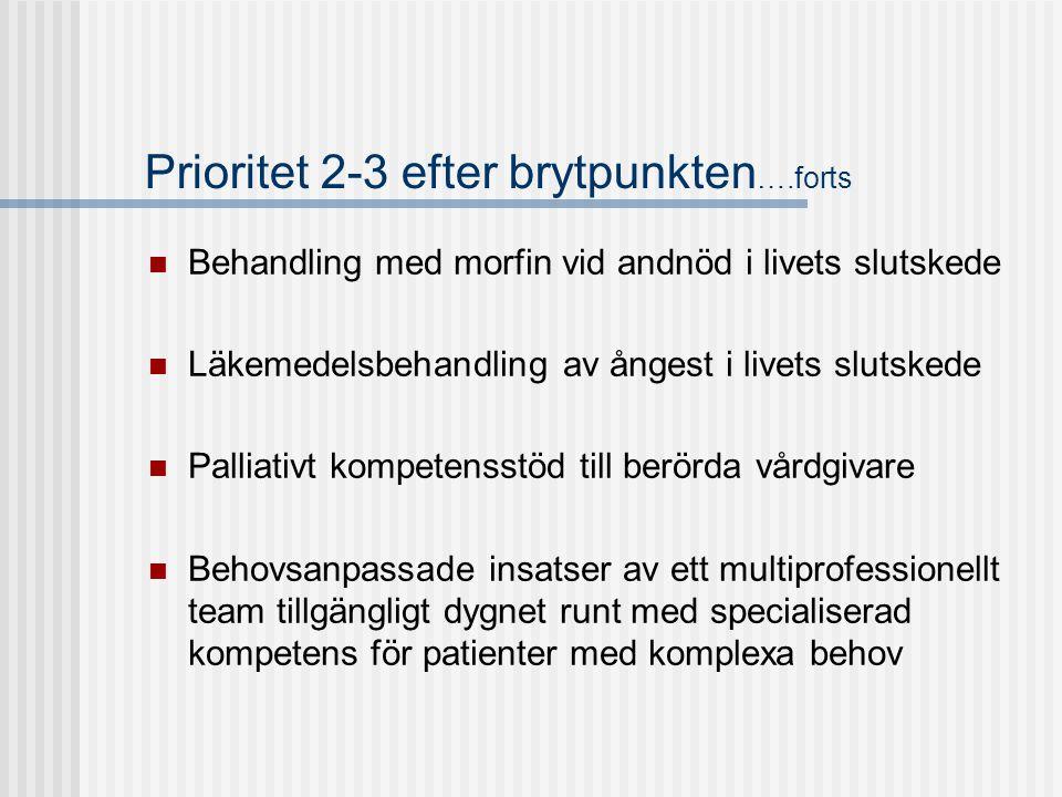 Prioritet 2-3 efter brytpunkten….forts