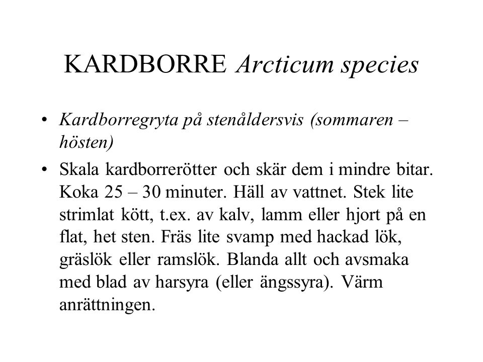 KARDBORRE Arcticum species