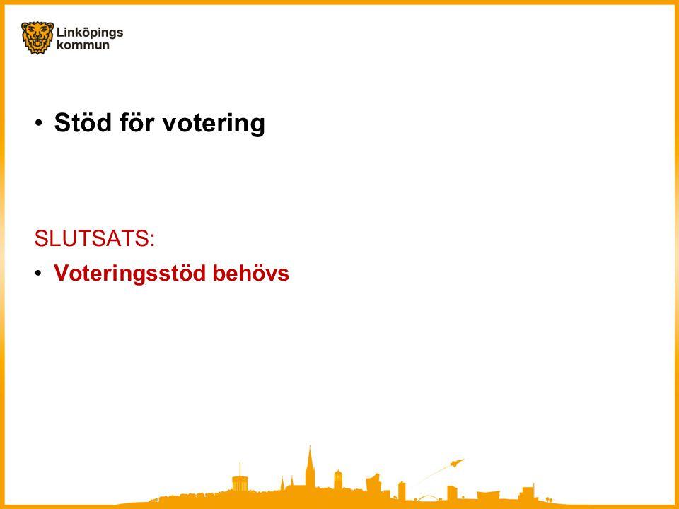 Stöd för votering SLUTSATS: Voteringsstöd behövs
