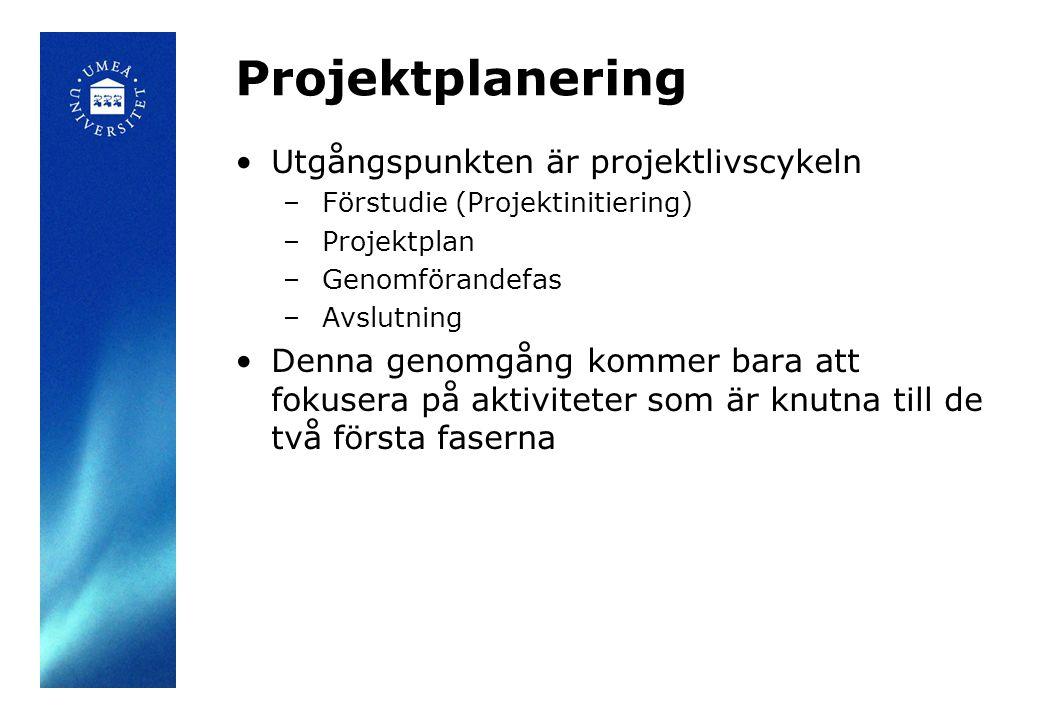 Projektplanering Utgångspunkten är projektlivscykeln