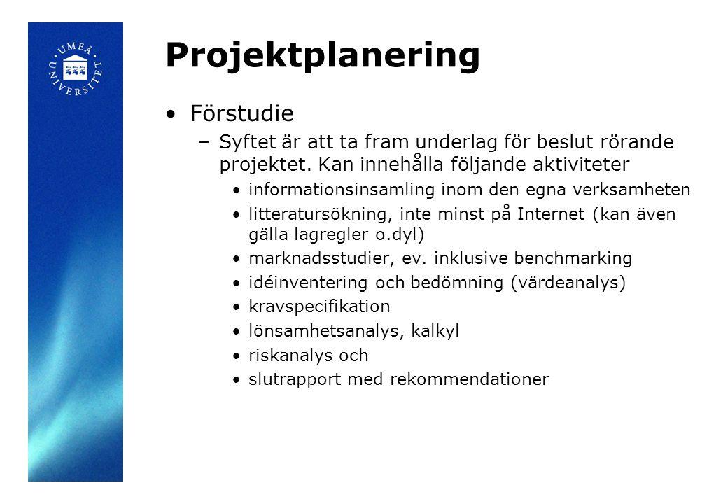 Projektplanering Förstudie