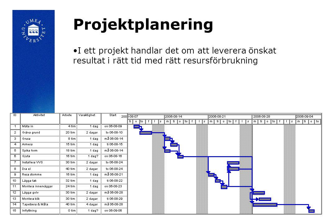 Projektplanering I ett projekt handlar det om att leverera önskat resultat i rätt tid med rätt resursförbrukning.