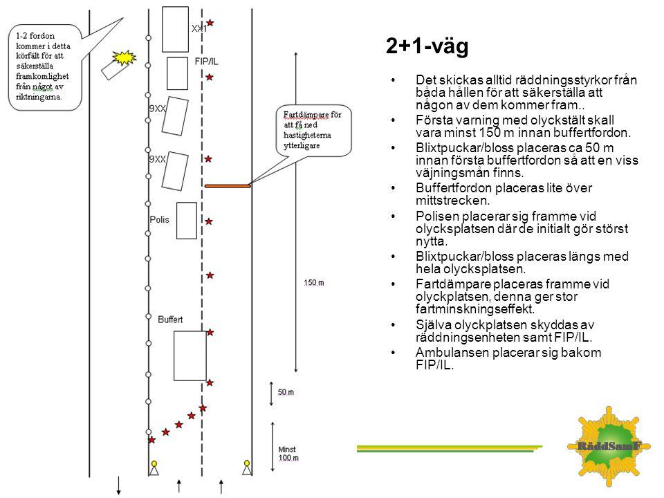 2+1-väg Det skickas alltid räddningsstyrkor från båda hållen för att säkerställa att någon av dem kommer fram..