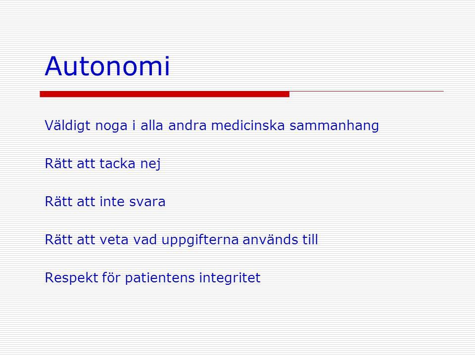 Autonomi Väldigt noga i alla andra medicinska sammanhang