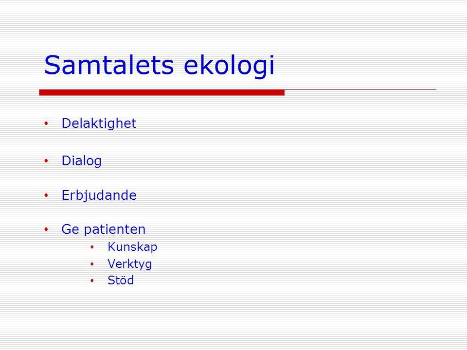 Delaktighet Dialog Erbjudande Ge patienten Kunskap Verktyg Stöd