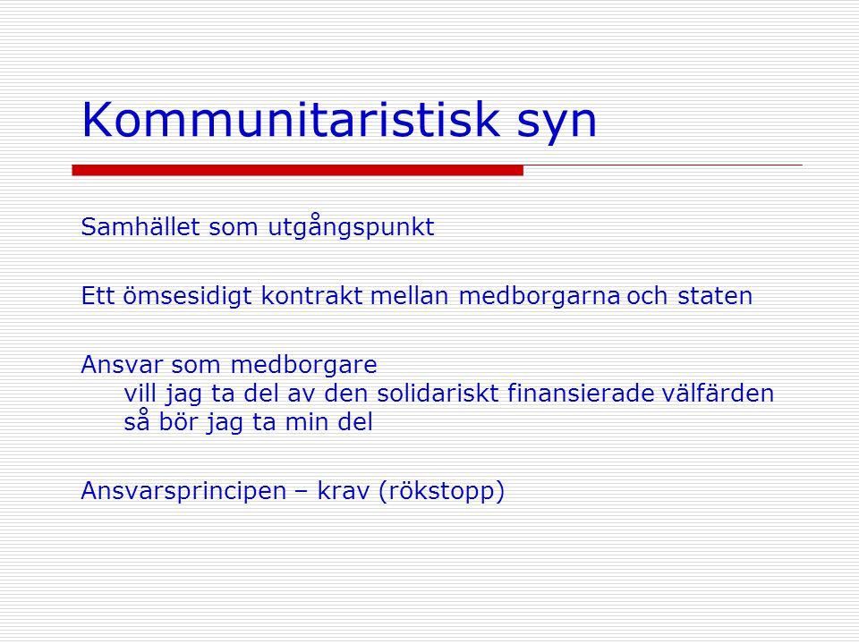Kommunitaristisk syn Samhället som utgångspunkt