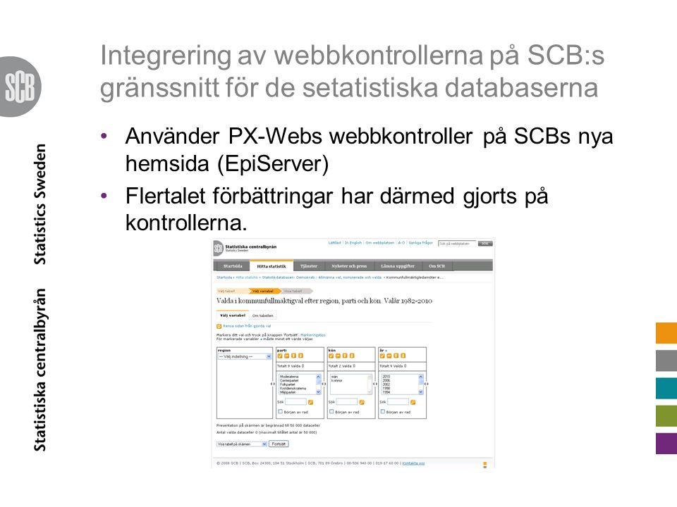 Integrering av webbkontrollerna på SCB:s gränssnitt för de setatistiska databaserna