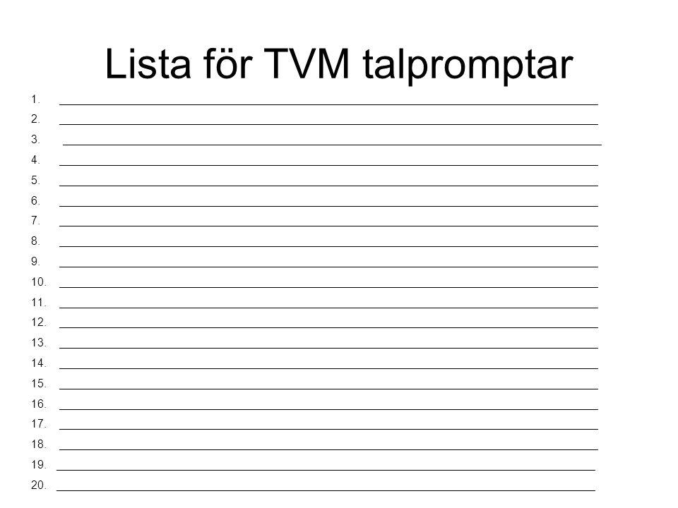 Lista för TVM talpromptar