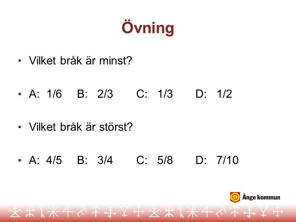 Övning Vilket bråk är minst A: 1/6 B: 2/3 C: 1/3 D: 1/2