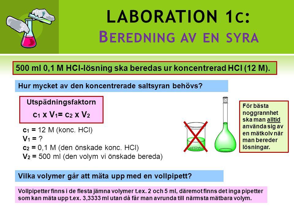 LABORATION 1c: Beredning av en syra