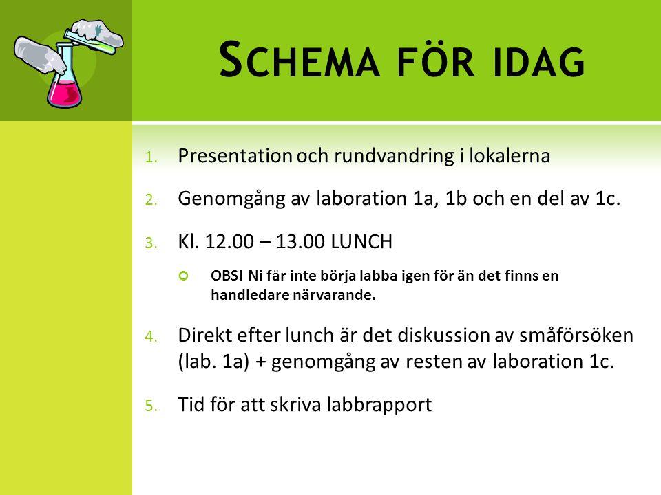 Schema för idag Presentation och rundvandring i lokalerna