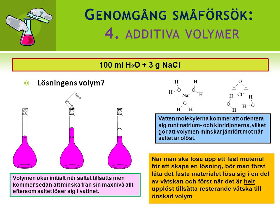 Genomgång småförsök: 4. additiva volymer