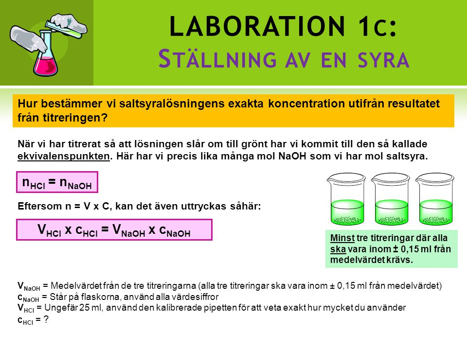 LABORATION 1c: Ställning av en syra