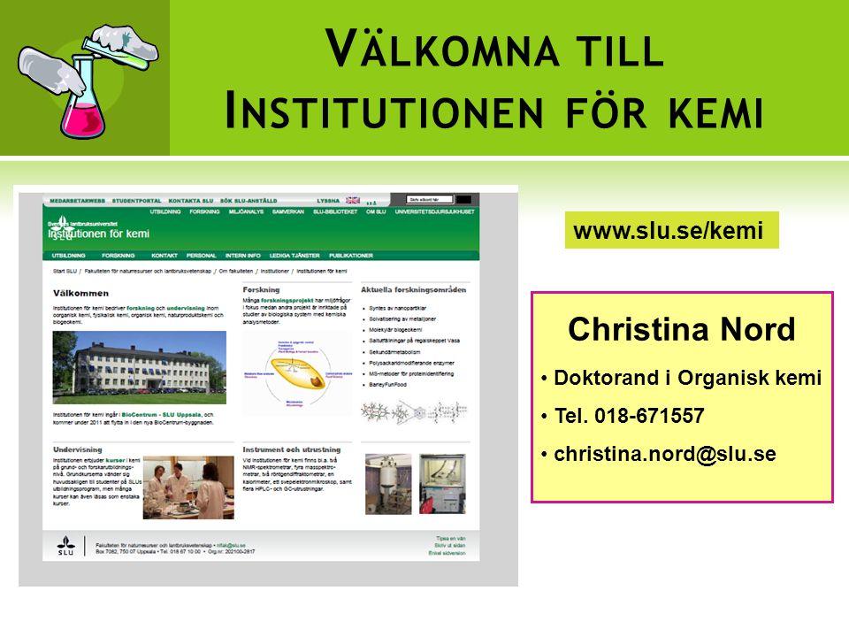 Välkomna till Institutionen för kemi