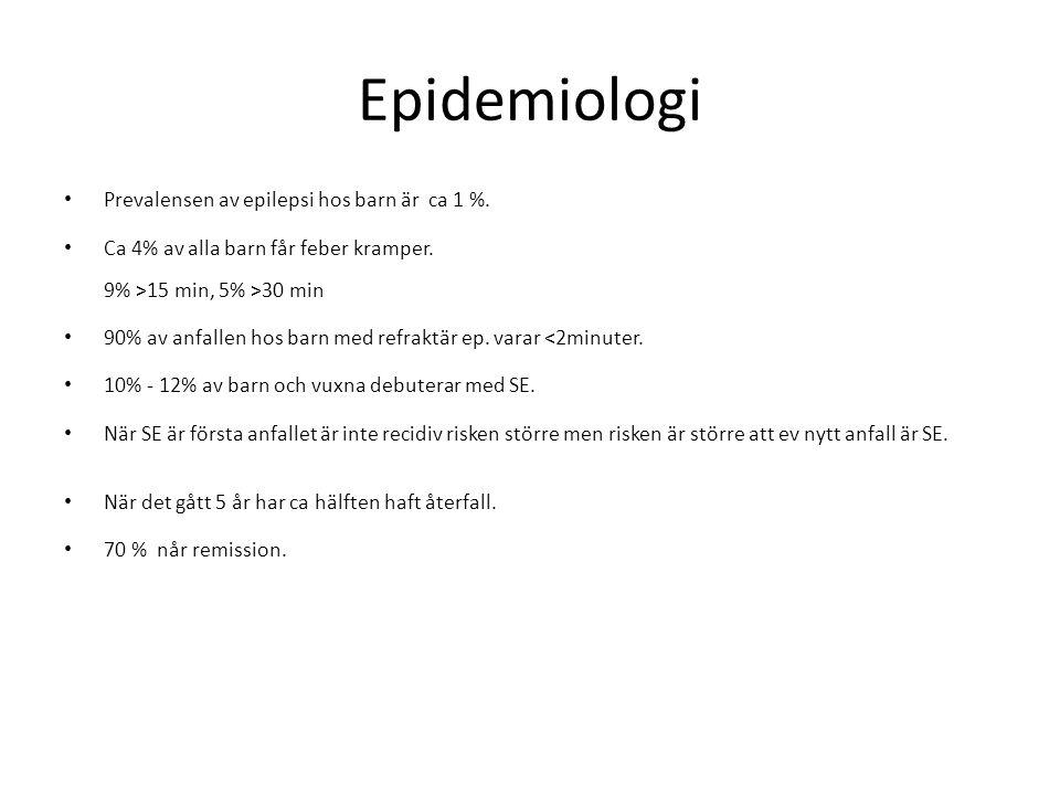 Epidemiologi Prevalensen av epilepsi hos barn är ca 1 %.