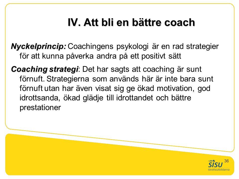 IV. Att bli en bättre coach