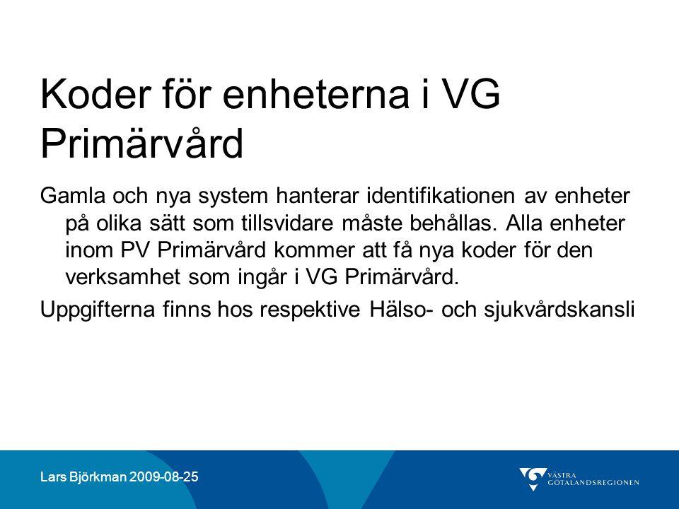 Koder för enheterna i VG Primärvård