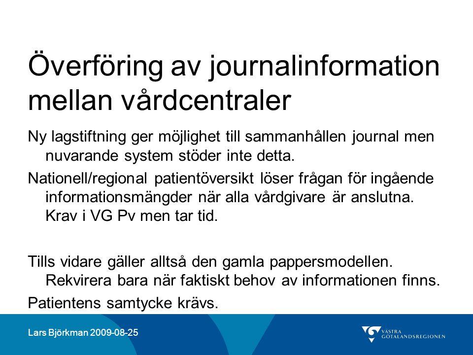 Överföring av journalinformation mellan vårdcentraler
