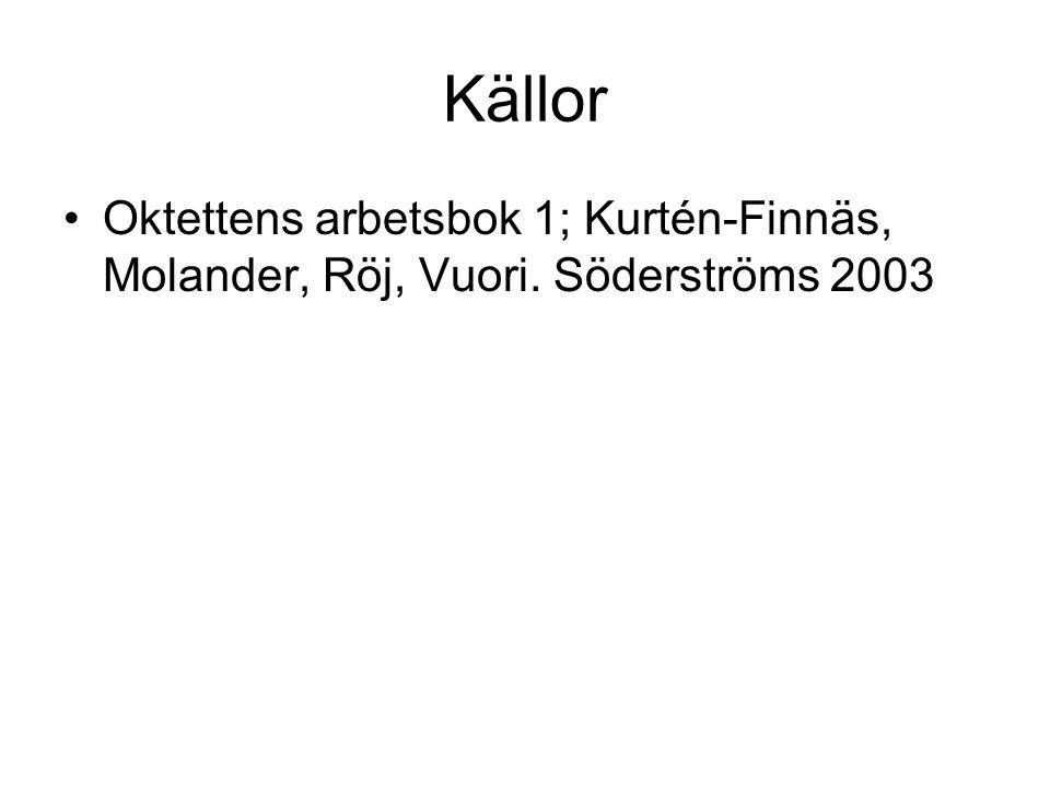 Källor Oktettens arbetsbok 1; Kurtén-Finnäs, Molander, Röj, Vuori. Söderströms 2003
