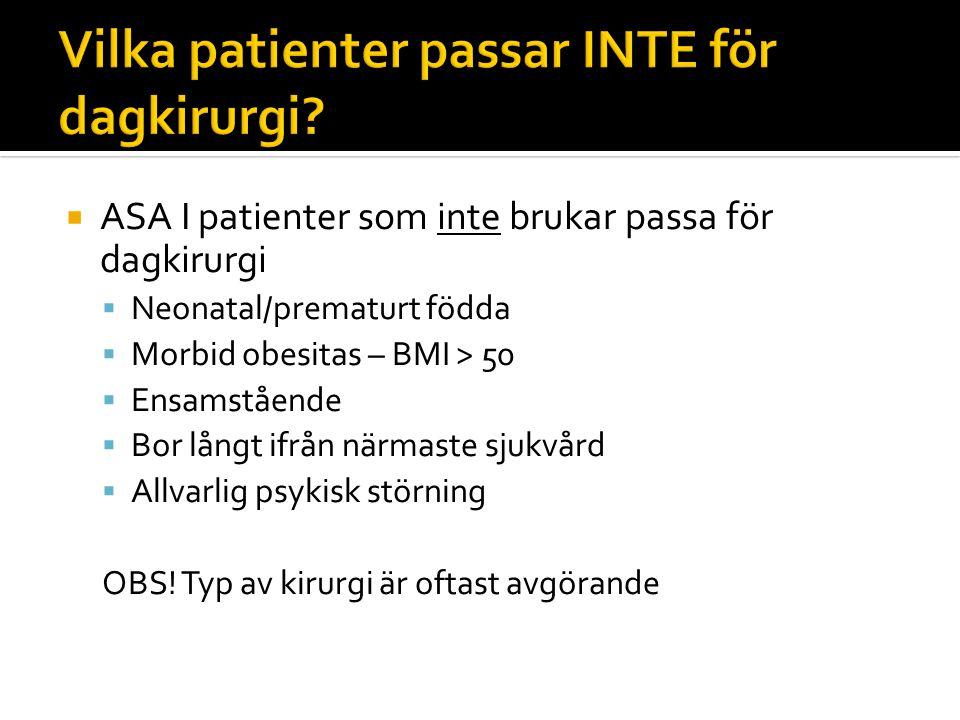 Vilka patienter passar INTE för dagkirurgi