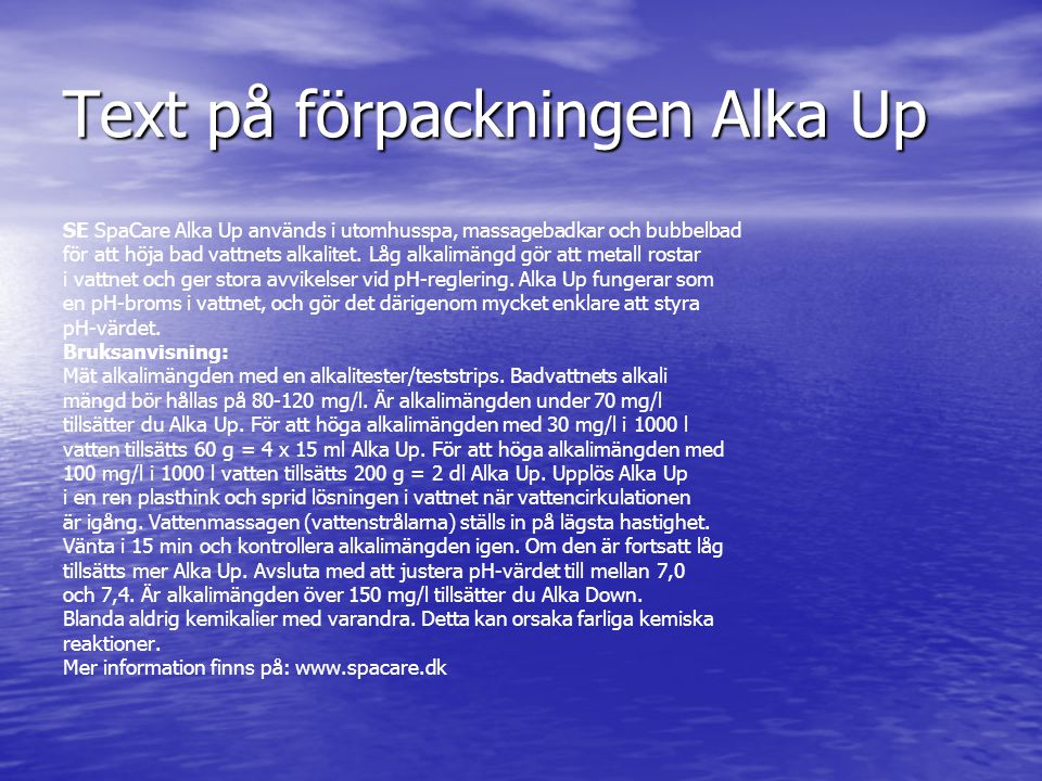 Text på förpackningen Alka Up