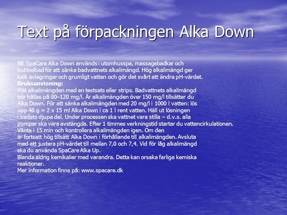 Text på förpackningen Alka Down