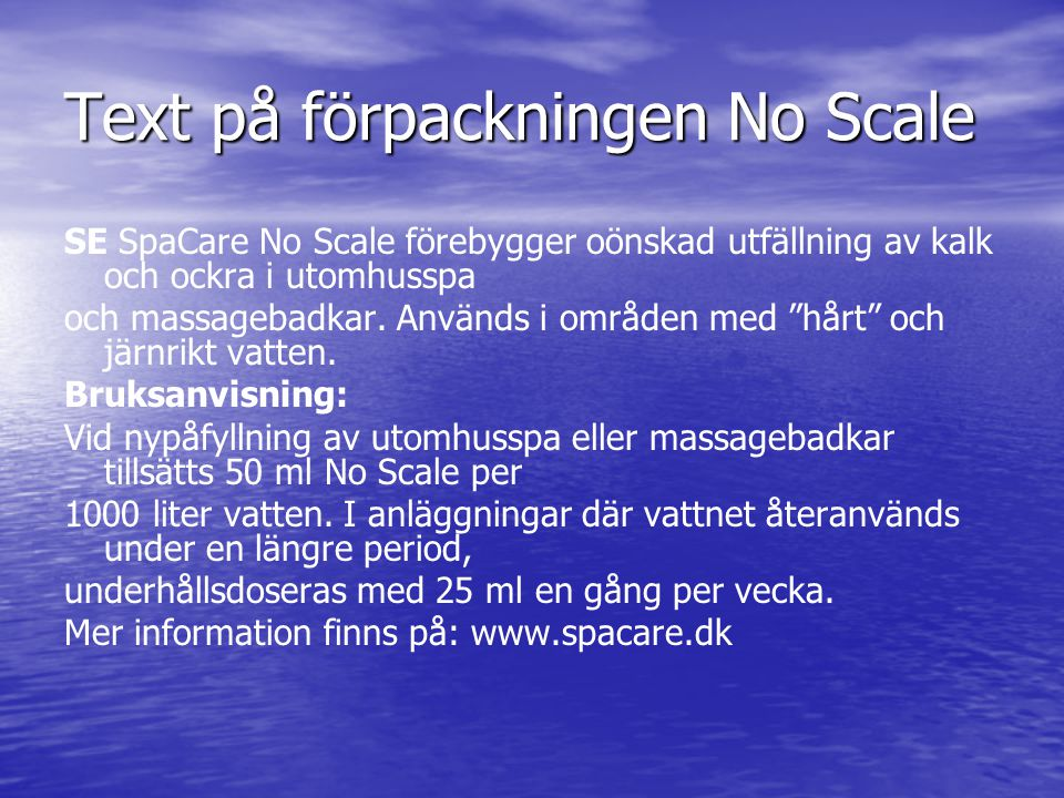 Text på förpackningen No Scale