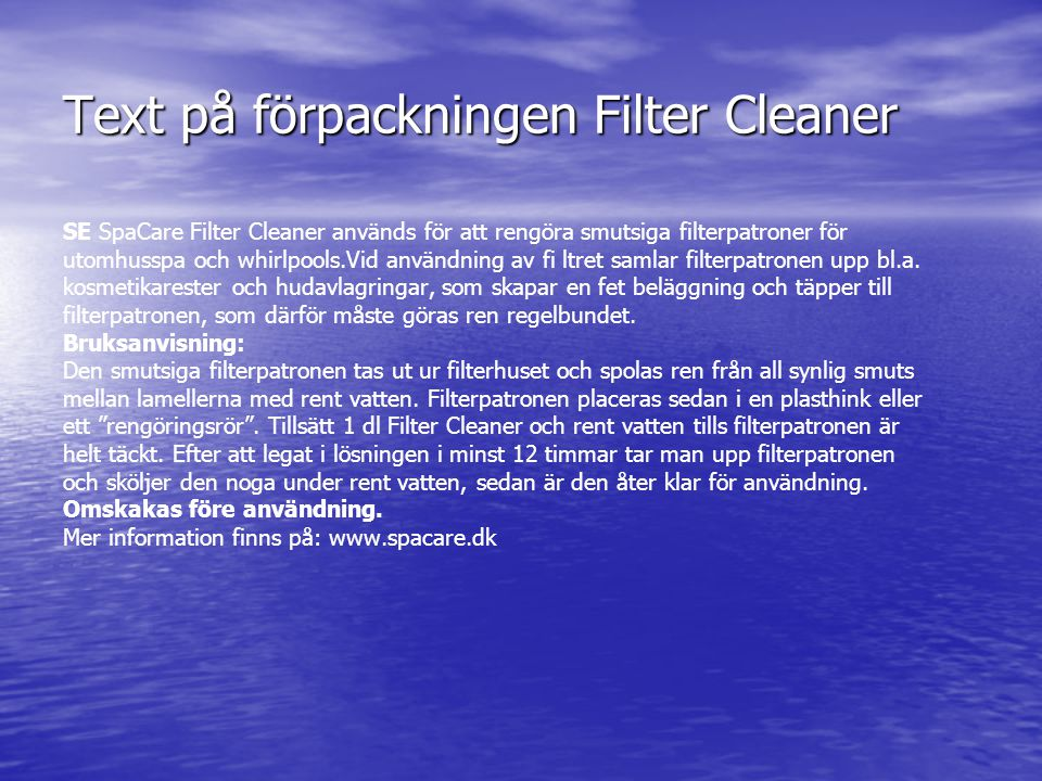 Text på förpackningen Filter Cleaner
