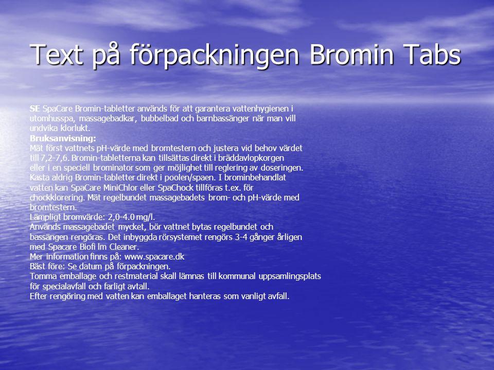 Text på förpackningen Bromin Tabs