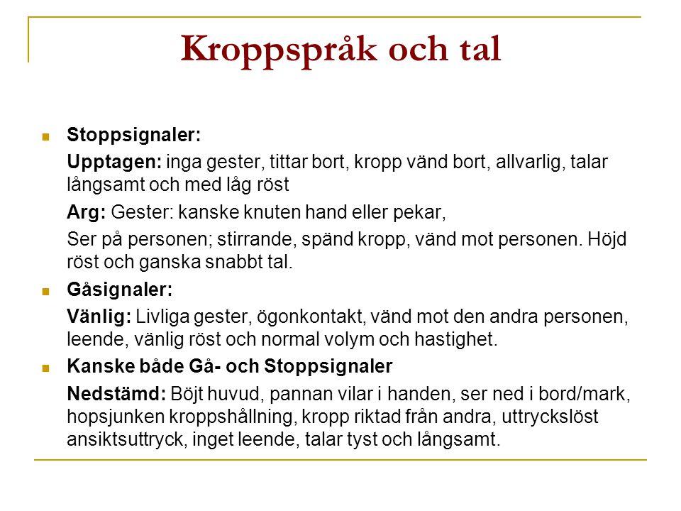 Kroppspråk och tal Stoppsignaler: