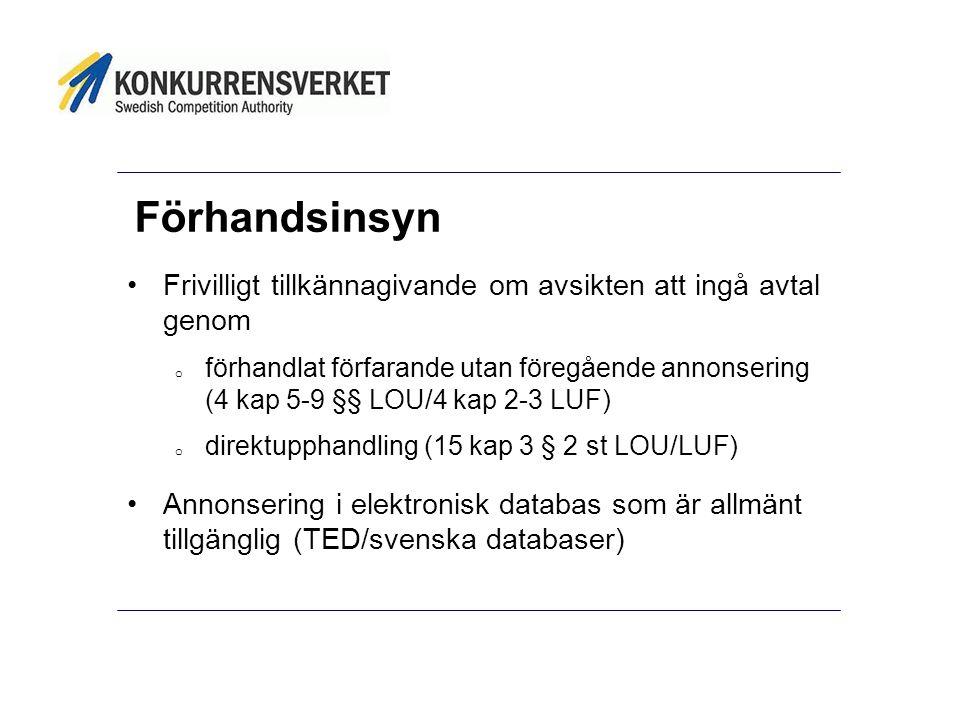Förhandsinsyn Frivilligt tillkännagivande om avsikten att ingå avtal genom.