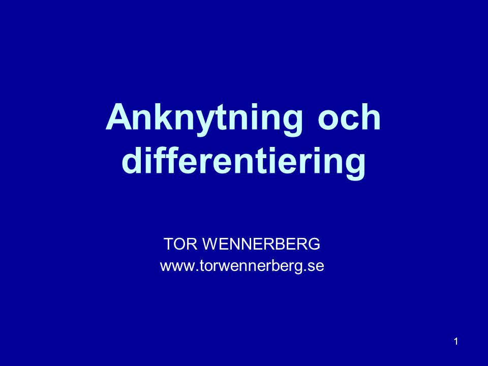 Anknytning och differentiering