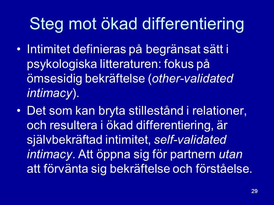 Steg mot ökad differentiering