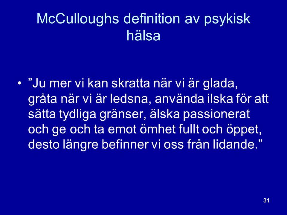 McCulloughs definition av psykisk hälsa