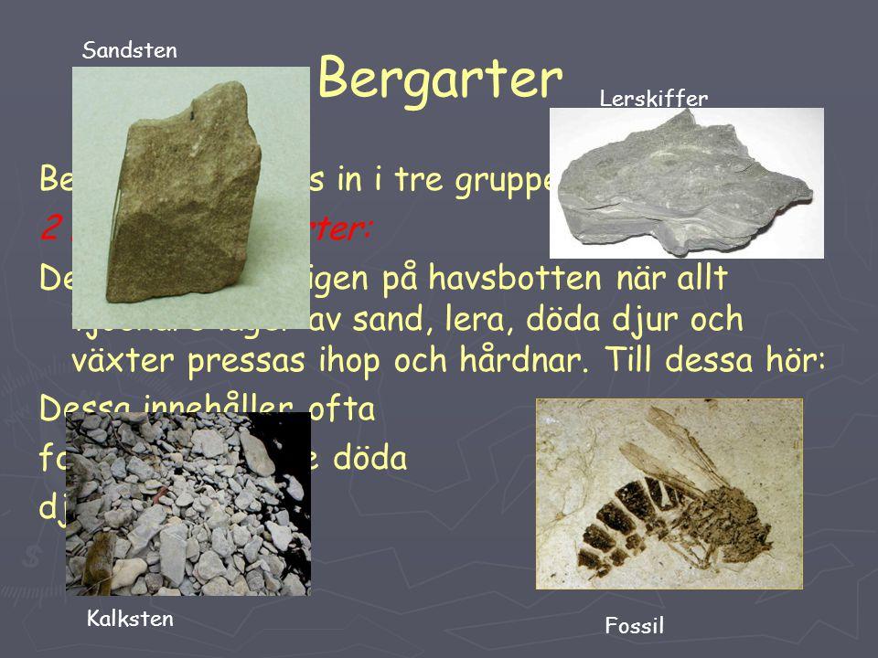 Bergarter Bergarterna delas in i tre grupper: 2 Lagrade bergarter: