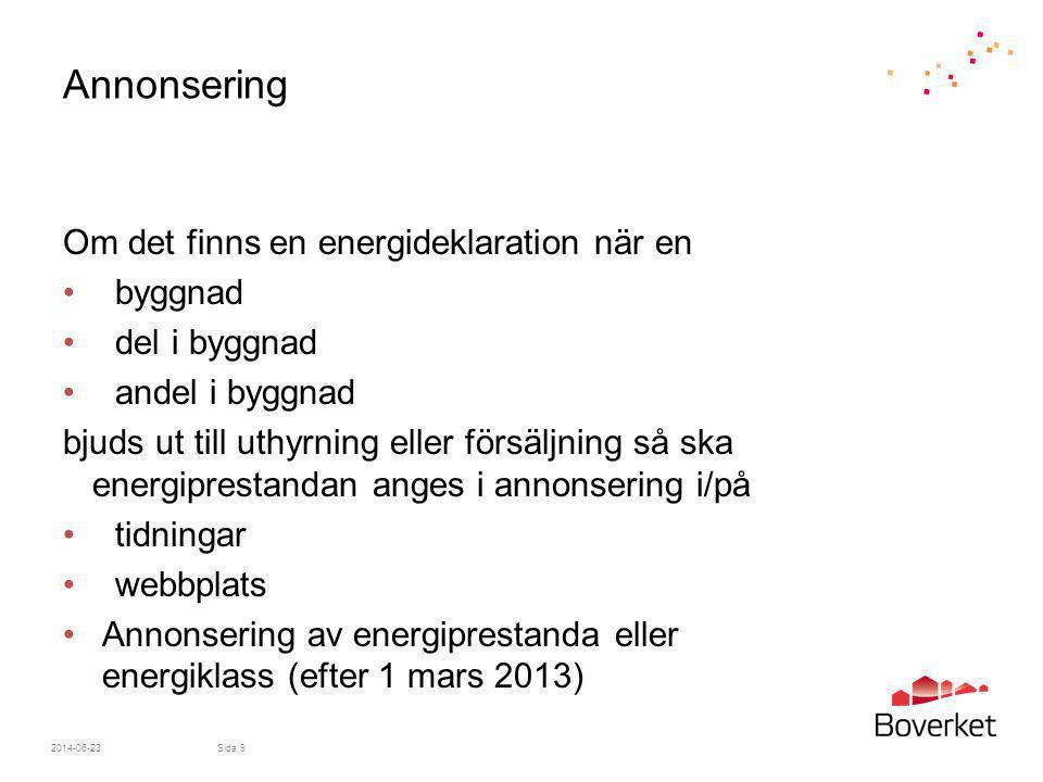 Annonsering Om det finns en energideklaration när en byggnad