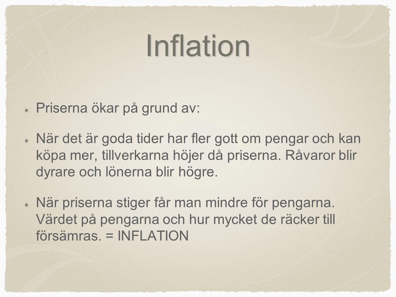 Inflation Priserna ökar på grund av: