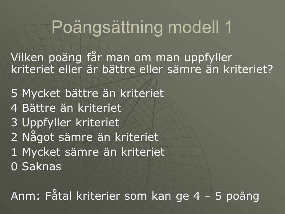 Poängsättning modell 1 Vilken poäng får man om man uppfyller kriteriet eller är bättre eller sämre än kriteriet