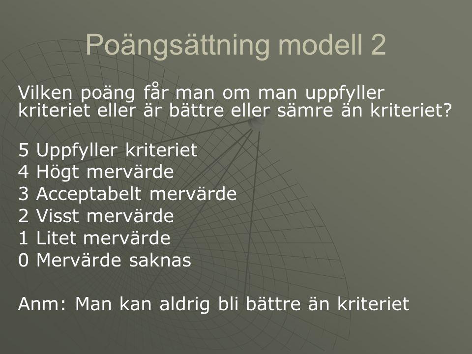 Poängsättning modell 2 Vilken poäng får man om man uppfyller kriteriet eller är bättre eller sämre än kriteriet