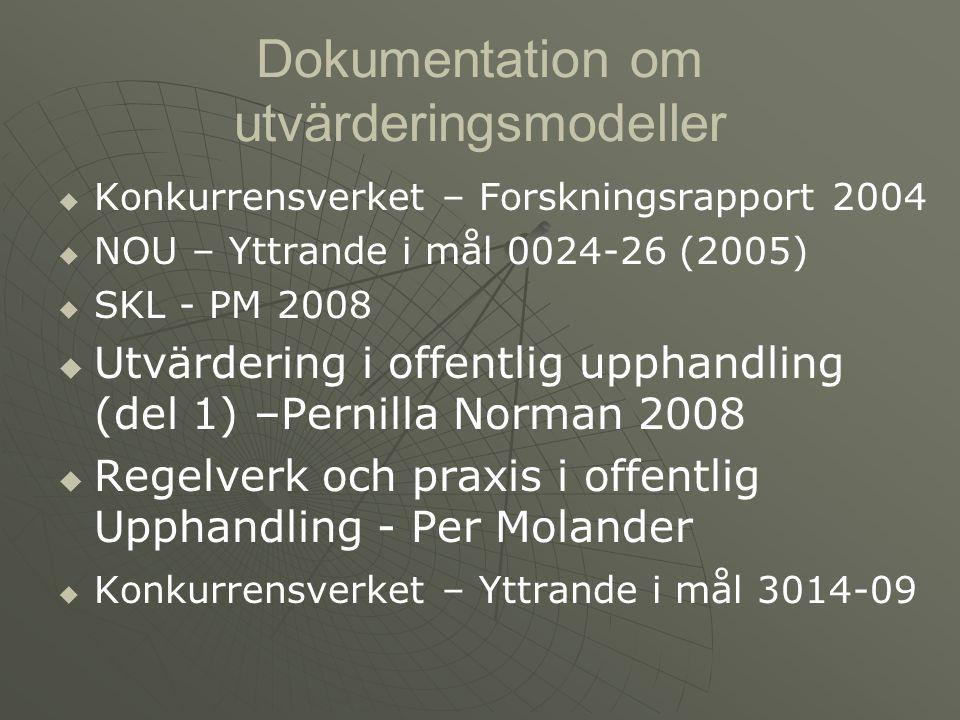 Dokumentation om utvärderingsmodeller