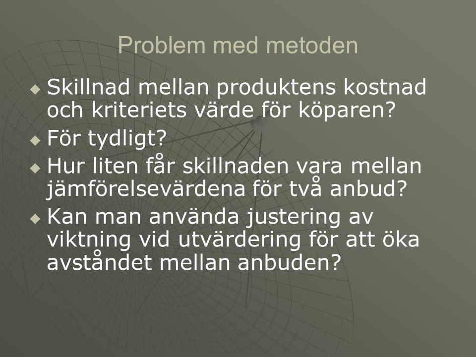 Problem med metoden Skillnad mellan produktens kostnad och kriteriets värde för köparen För tydligt