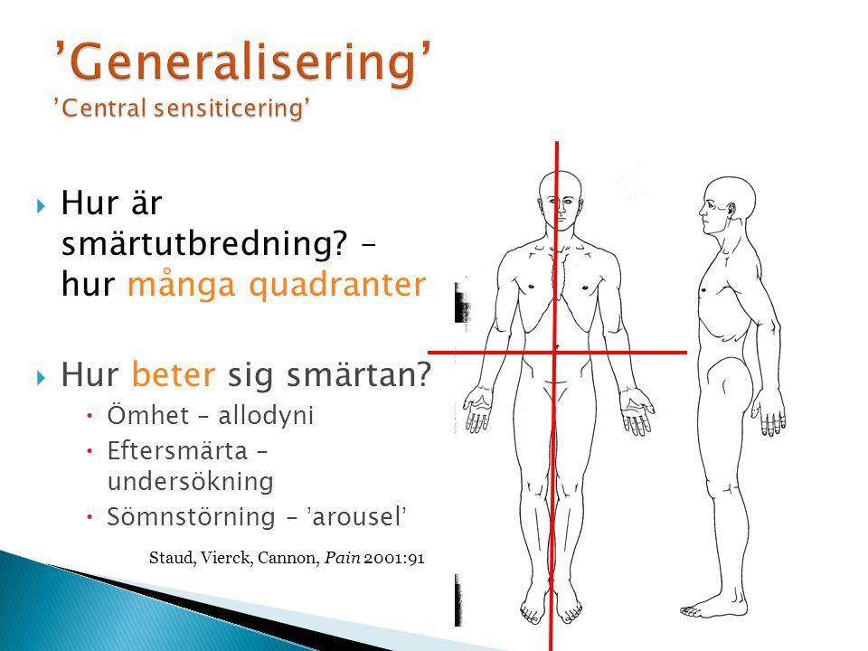 'Generalisering' 'Central sensiticering'