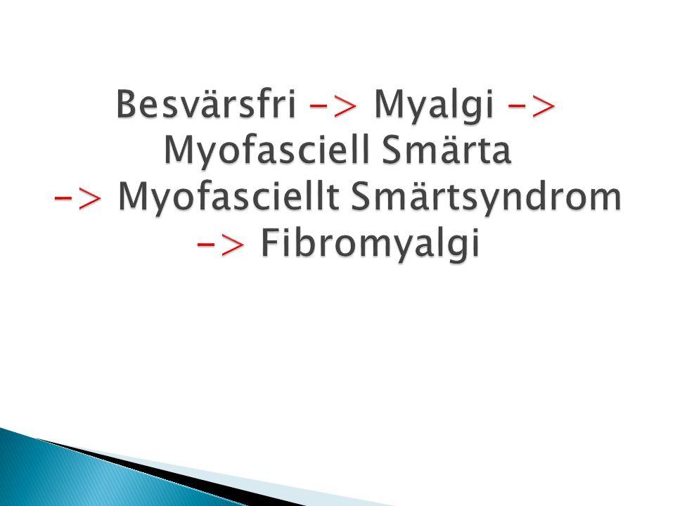 Besvärsfri -> Myalgi -> Myofasciell Smärta -> Myofasciellt Smärtsyndrom -> Fibromyalgi