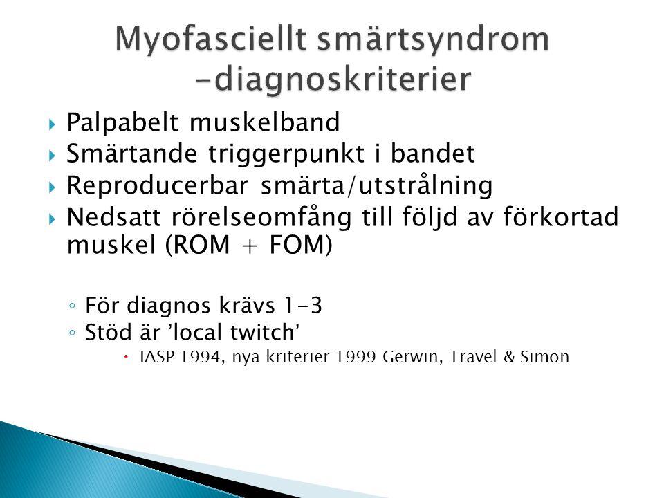 Myofasciellt smärtsyndrom -diagnoskriterier