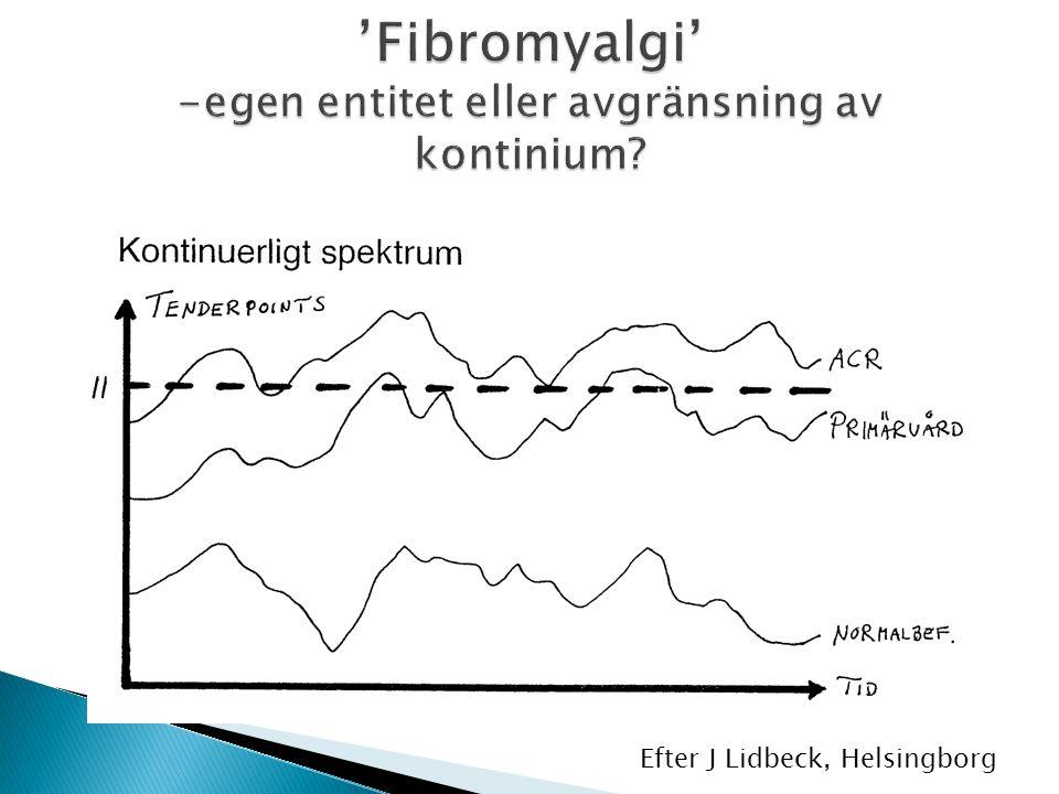 'Fibromyalgi' -egen entitet eller avgränsning av kontinium