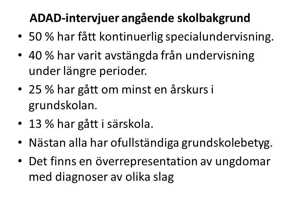 ADAD-intervjuer angående skolbakgrund